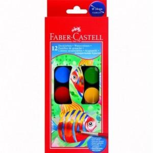 Acuarele 12 culori/set, pastila 30mm, pensula, Faber-Castell - ACOMI.ro