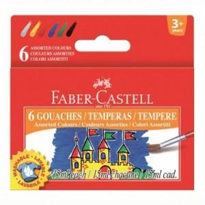Guase 6 culori, 15 ml, Faber-Castell - ACOMI.ro