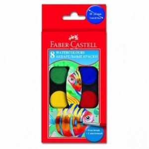 Acuarele 8 culori/set pensula, Faber-Castell - ACOMI.ro