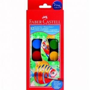 Acuarele 12 culori/set, pastila 24mm, pensula, Faber-Castell - ACOMI.ro