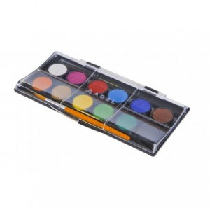 Acuarele cu pensula, 12 culori/set, pastila 24 mm, Adel - ACOMI.ro