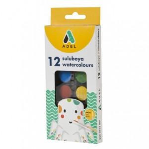 Acuarele cu pensula, 12 culori/set, pastila 30 mm, Adel - ACOMI.ro
