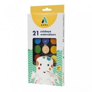 Acuarele cu pensula 21 culori/set, Adel - ACOMI.ro