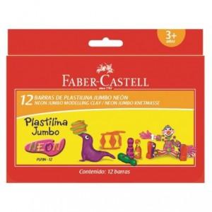 Plastilina 12 culori neon, 160g, Faber-Castell - ACOMI.ro