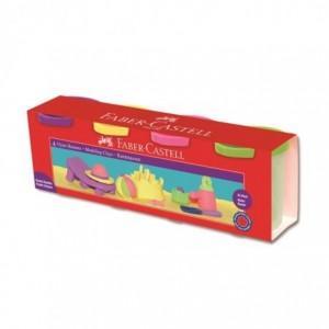 Plastilina 4 culori pastel, 130g, Faber-Castell - ACOMI.ro