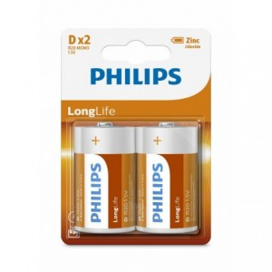 Baterie LONGLIFE D 2 buc/blister, PHILIPS - ACOMI.ro