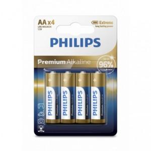 Baterie PREMIUM ALKALINE AA 4 buc/blister, PHILIPS - ACOMI.ro
