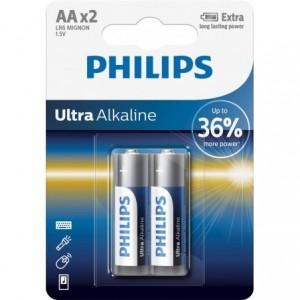 Baterie ULTRA ALKALINE AA, 2 BUC, PHILIPS - ACOMI.ro