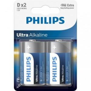 Baterie ULTRA ALKALINE D 2 BUC, PHILIPS - ACOMI.ro