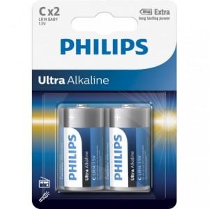 Baterie ULTRA ALKALINE C, 2 BUC, PHILIPS - ACOMI.ro