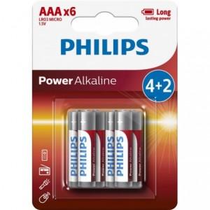 Baterie POWER ALKALINE AAA 4+2 buc/blister, PROMO, PHILIPS - ACOMI.ro