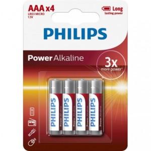 Baterie POWER ALKALINE AAA 4 buc/blister, PHILIPS - ACOMI.ro