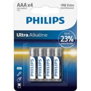 Baterie ULTRA ALKALINE AAA,4 BUC, PHILIPS - ACOMI.ro