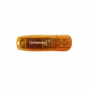 USB Flash Drive 64GB, portocaliu, Rainbow Line INTENSO - ACOMI.ro