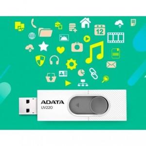 Memorie USB UV220 16GB, alb/gri, ADATA - ACOMI.ro