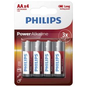 Baterie POWER ALKALINE AA 4 buc/blister, PHILIPS - ACOMI.ro