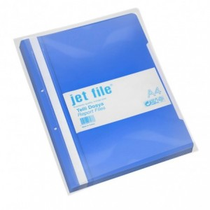 Dosar plastic cu sina si perforatii, JETFILE, 100 buc/set albastru · ACOMI.ro