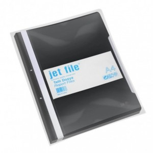 Dosar plastic cu sina si perforatii, JETFILE, 100 buc/set negru · ACOMI.ro