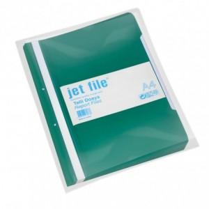 Dosar plastic cu sina si perforatii, JETFILE, 100 buc/set verde · ACOMI.ro