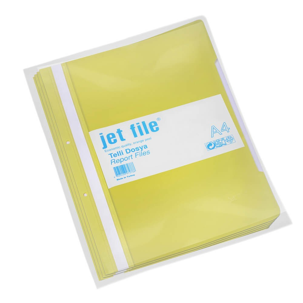 Dosar plastic cu sina si perforatii, JETFILE, 100 buc/set galben · ACOMI.ro