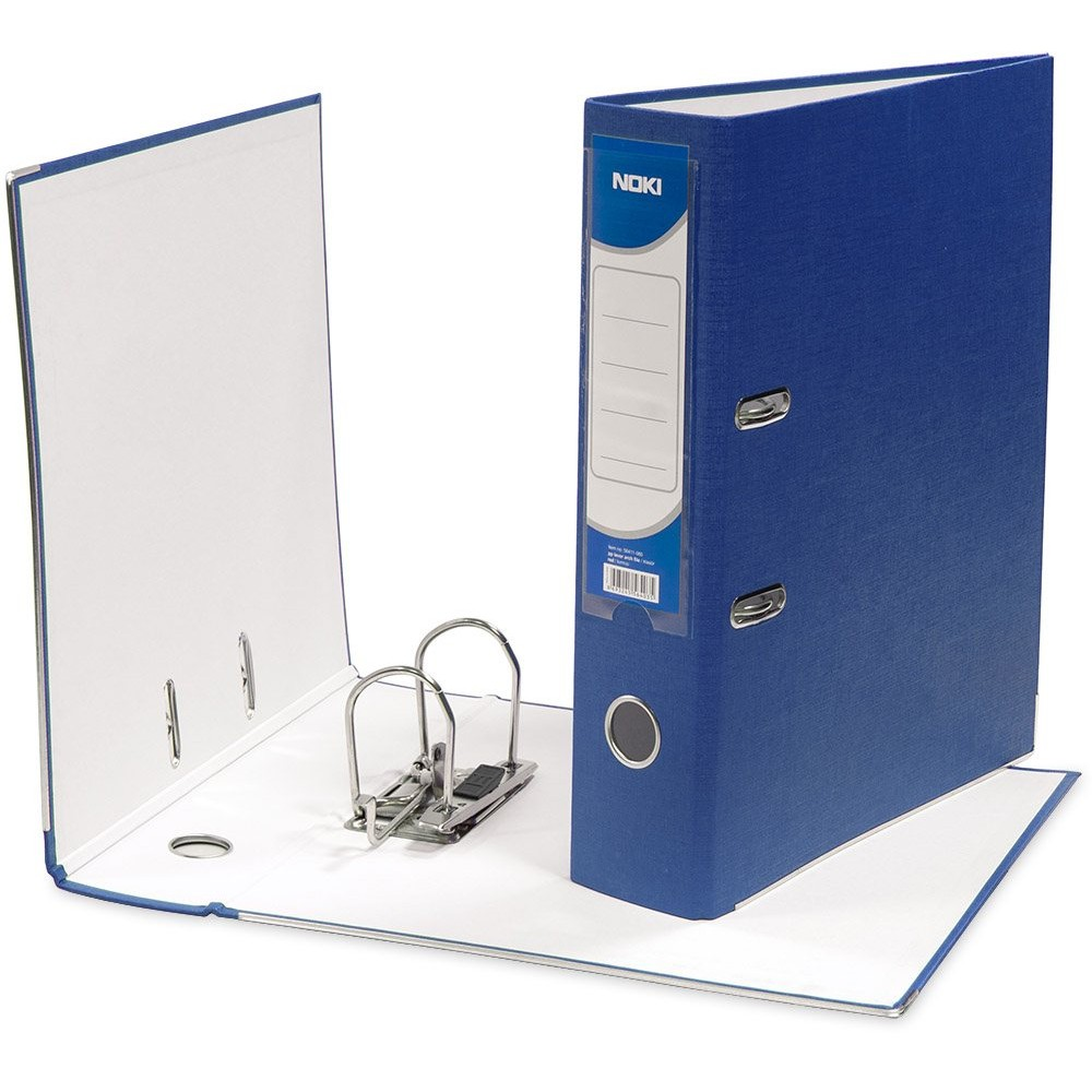 Biblioraft plastifiat de 8.0 cm, albastru, A4, NOKI - ACOMI.ro