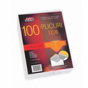 Plic C6 (114x162mm) gumat, alb, clapa V, 100 buc/set, GPV - ACOMI.ro