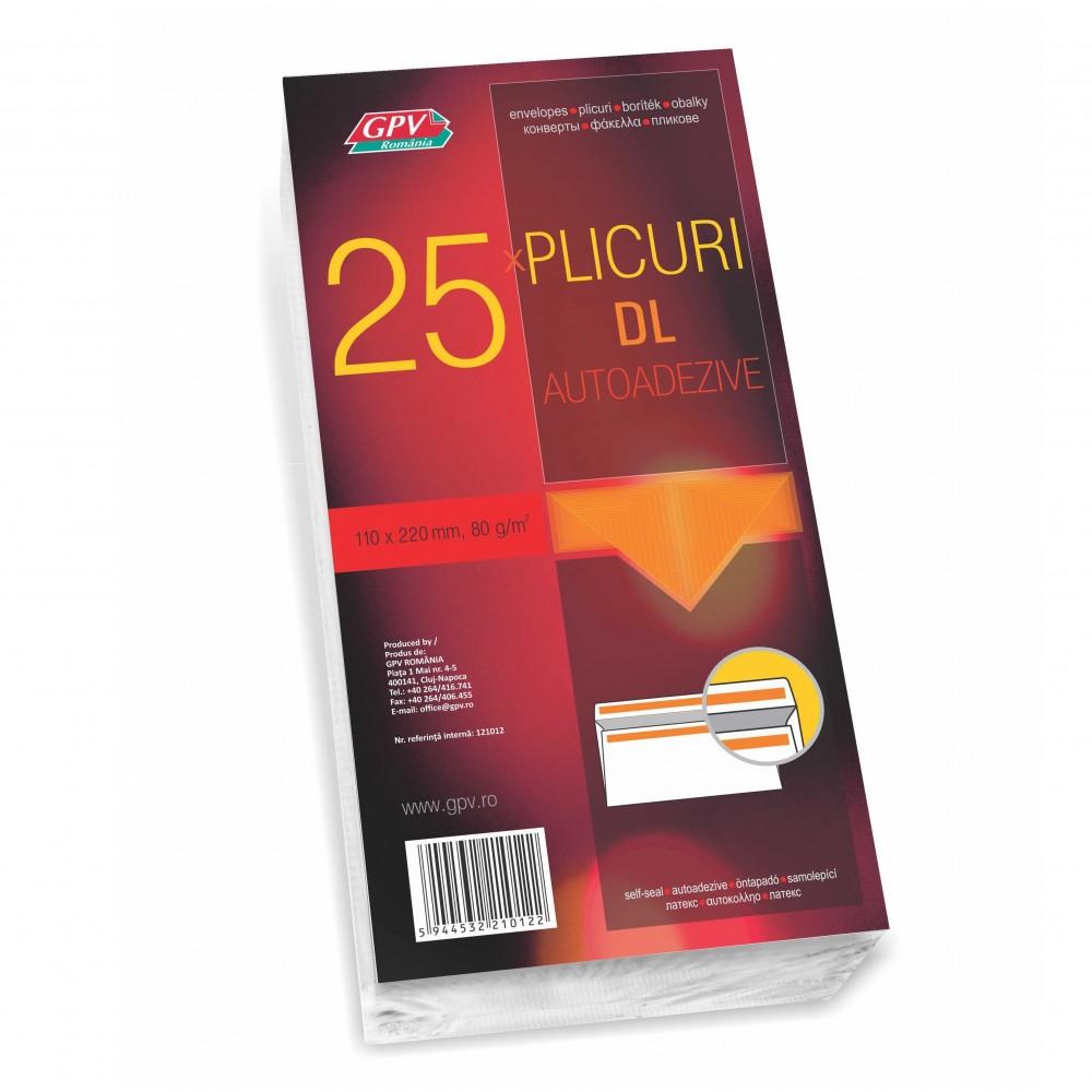 Plic DL (110x220mm) autoadeziv, alb, 25 buc/set, GPV - ACOMI.ro