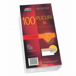 Plic DL (110x220mm) autoadeziv, alb, 100 buc/set, GPV - ACOMI.ro