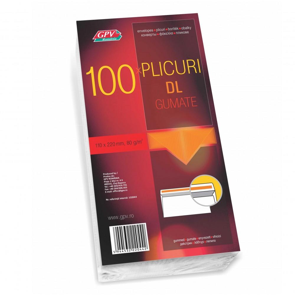 Plic DL (110x220mm) gumat, alb, 100 buc/set, GPV - ACOMI.ro