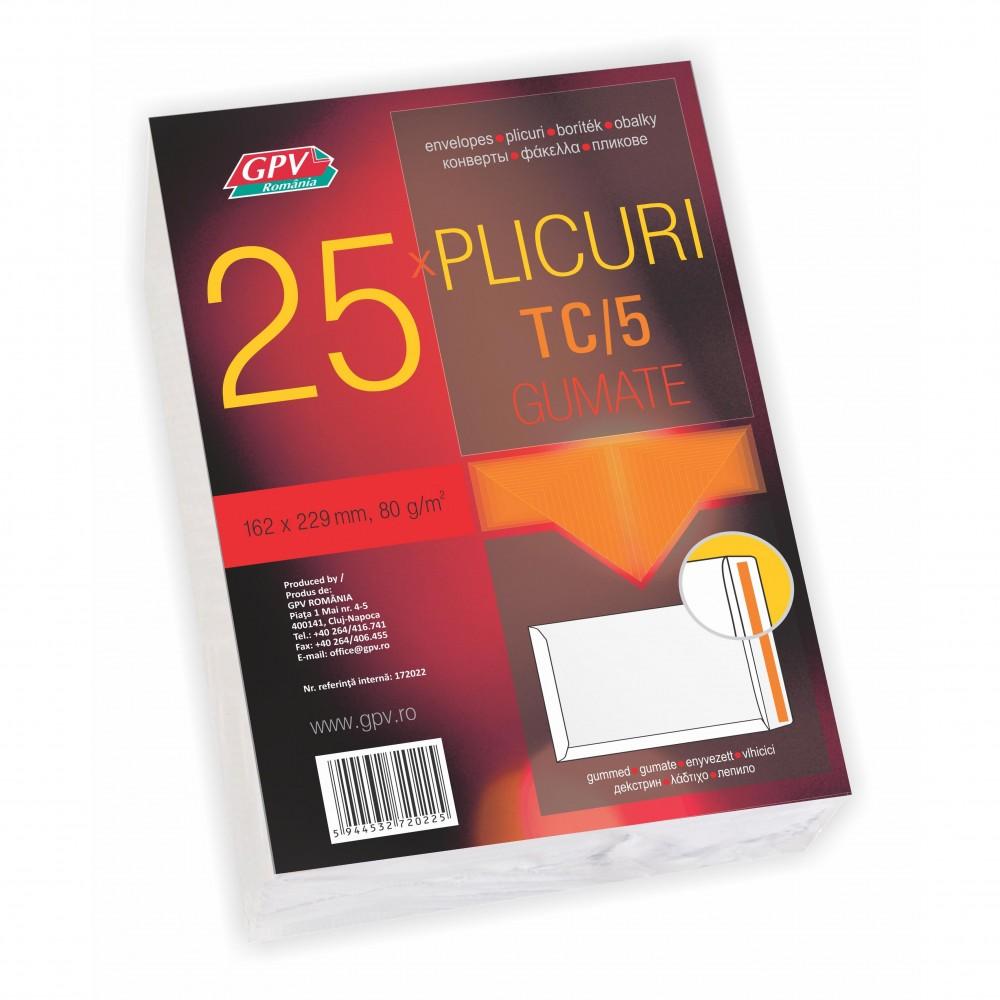 Plic C5 (162x229mm) gumat, alb, tip T, 25 buc/set, GPV - ACOMI.ro