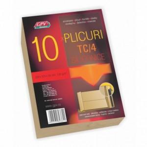 Plic cu burduf C4 (229x324x30mm) siliconic, kraft, tip T, 10 buc/set, GPV - ACOMI.ro