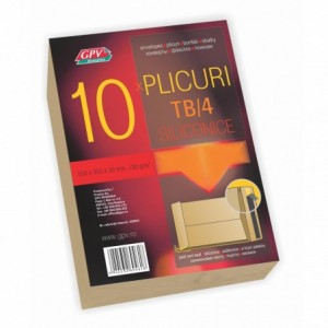 Plic cu burduf B4 (250x353x30mm) siliconic, kraft, tip T, 10 buc/set, GPV - ACOMI.ro