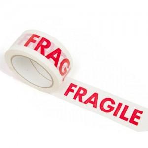 Banda adeziva FRAGIL alb/rosu, 48x60m, ACM BRAND - ACOMI.ro