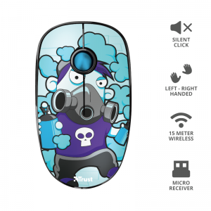 Mouse wireless 1600 dpi, albastru, TRUST Sketch Silent Click - ACOMI.ro