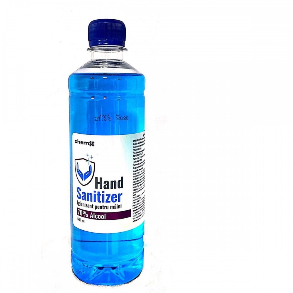 Solutie igienizanta pentru maini, 70% alcool, 500 ml, ChemX - ACOMI.ro