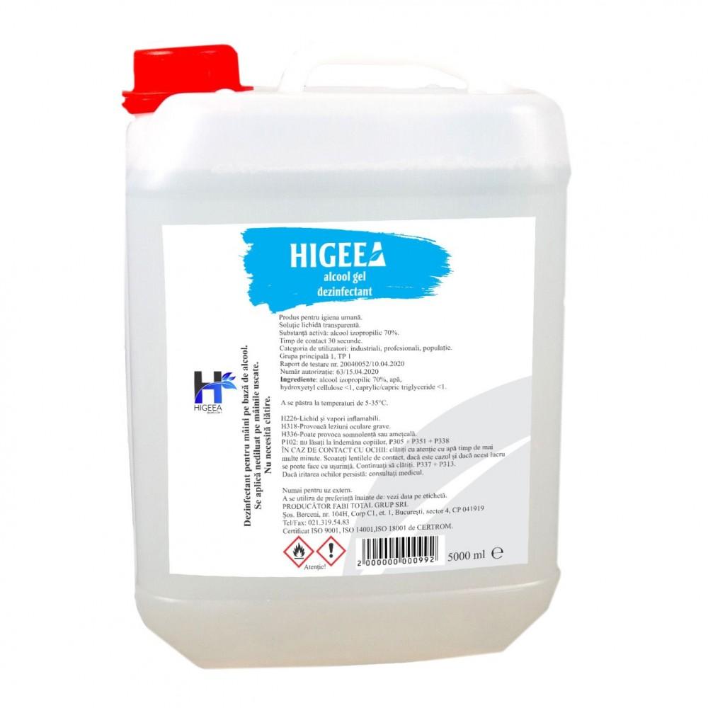 Gel dezinfectant pentru maini Higeea, alcool 70%, efect bactericid si virucid, 5L
