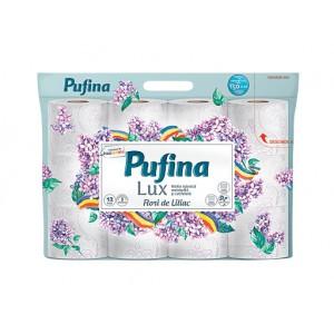 Hartie igienica Pufina LUX Flori de Liliac, 3 straturi, 12 role/set - ACOMI.ro