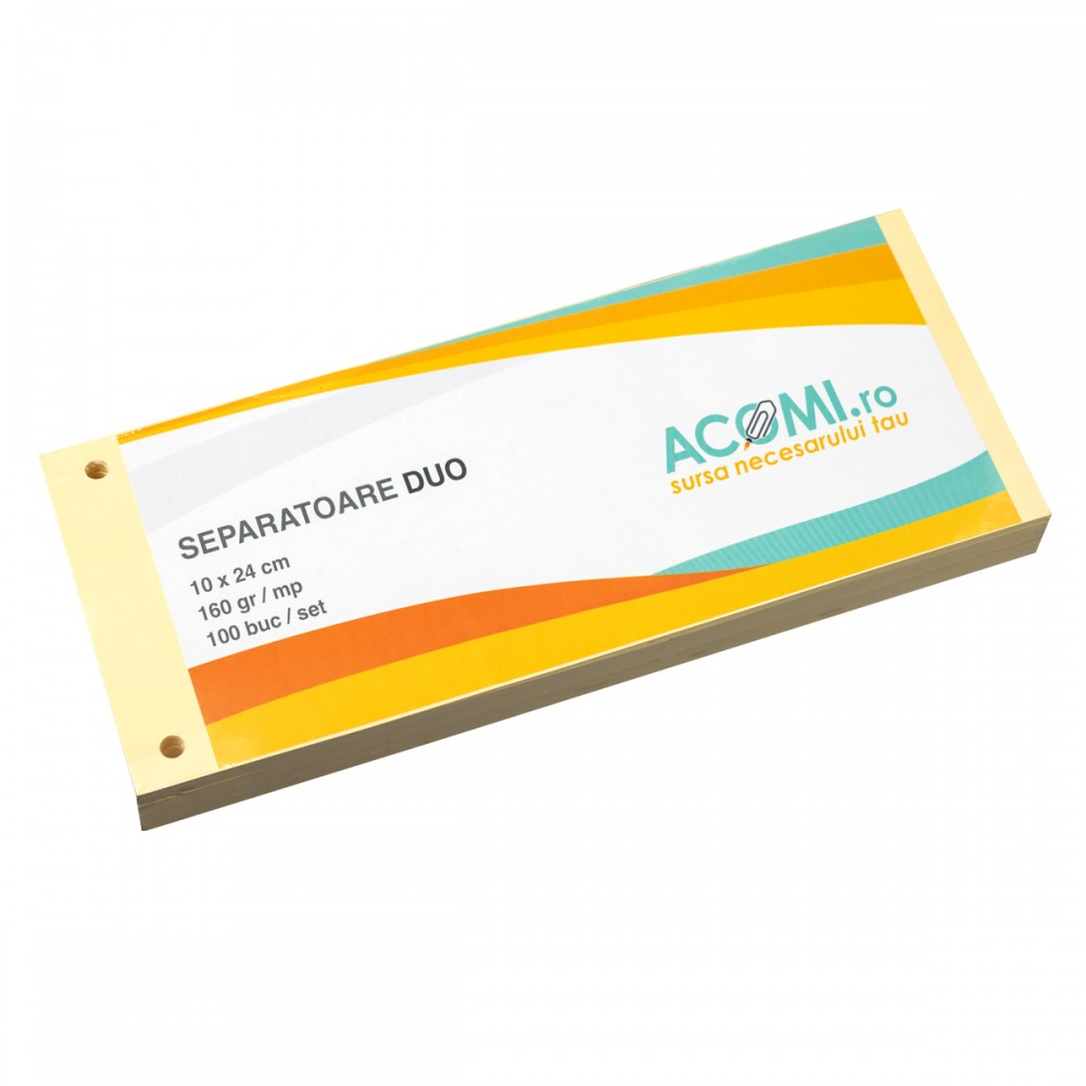 Separatoare biblioraft, carton 160g galben, 100 file/set, ACOMI