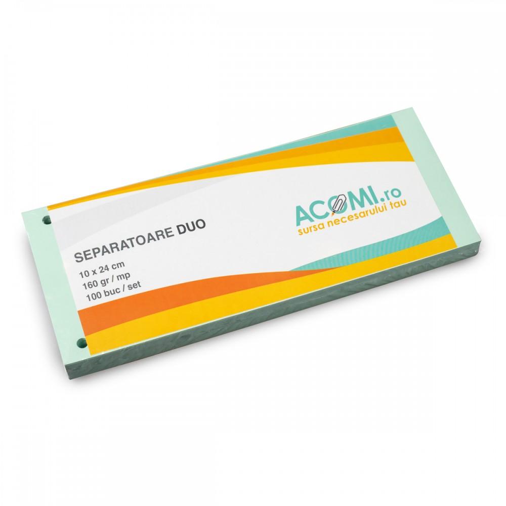 Separatoare biblioraft, carton 160g verde, 100 file/set, ACOMI