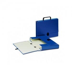 Servieta din carton plastifiat, cu clapa, maxim 500 coli, albastru - ACOMI.ro
