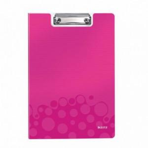 Clipboard dublu A4 roz-metalizat, plastifiat PVC, LEITZ Wow