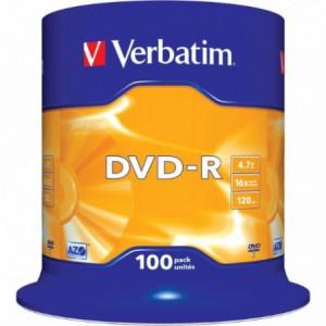 DVD-R Verbatim, 16x, 4.7 GB - Matt Silver, 100buc/bulk VER43549