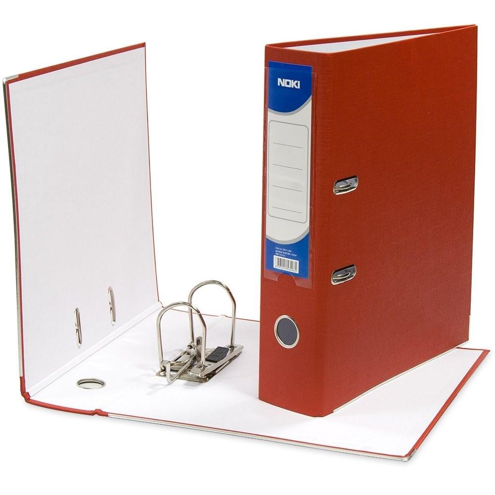Biblioraft plastifiat de 8.0 cm, rosu, A4, NOKI - ACOMI.ro