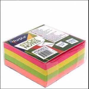 Cub notes adeziv 75x75mm, 320 file, 4 culori neon in dispenser, FORPUS - ACOMI.ro