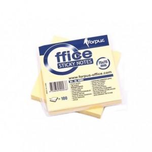 Notes adeziv 75x75mm, 100 file, galben pastel, FORPUS - ACOMI.ro