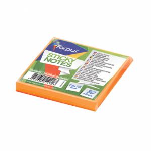 Notes adeziv 75x75mm,  80 file, portocaliu neon, FORPUS - ACOMI.ro