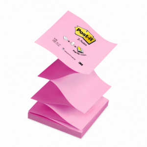 Notite adezive Post-it® Z, 76x76 mm, pastel alternand roz-galben, 100 file/buc - ACOMI.ro