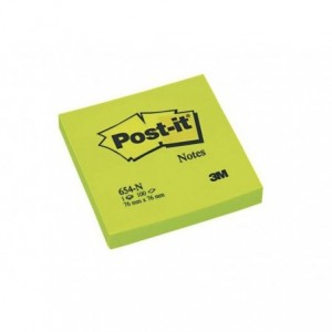 Notite adezive Post-it® neon, 76x76 mm, verde, 100 file/buc                            - ACOMI.ro