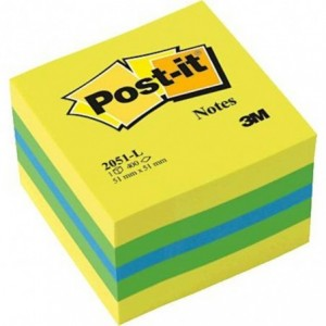 Cub notes Post-it® 51x51 mm, galben-verde, 400 file/cub - ACOMI.ro