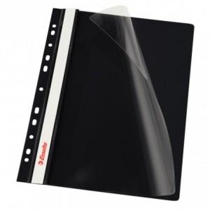 Dosar plastic ESSELTE, cu sina multiperforat 10 buc/set negru · ACOMI.ro